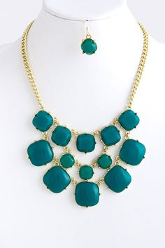 Square Bubble Necklace and Earrings: Teal