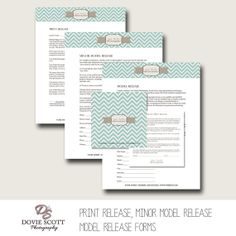 Photography Forms Templates :  Print Release, Model Release, Minor Model Release & 5x5 Print Release - by DovieScottPhoto