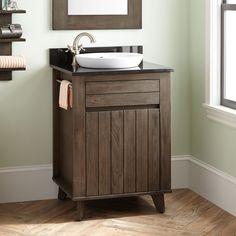 "24"" Antioch Teak Vanity for Semi-Recessed Sink - Dark Gray Wash"