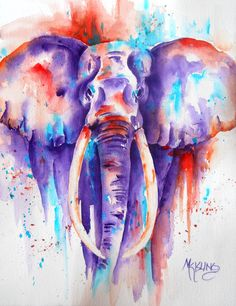 Elefante colorido acuarela representante púrpura en negrilla turquesa naranja por Colorado artista Martha Kisling