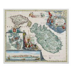 Shop 1720 Malta Map Poster created by Philo_B. Malta Map, Knights Hospitaller, Malta Island, Old Maps, Vintage Maps, Map Art, Custom Posters, Maltese, Custom Framing