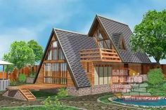 Architecture – Enjoy the Great Outdoors! A Frame House Plans, A Frame Cabin, Tiny House Plans, Cabins In The Woods, House In The Woods, My House, Triangle House, Cabin Homes, My Dream Home
