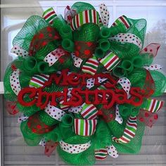 Christmas Wreath made with deco mesh and polka by WreathsByTheSea, $66.50
