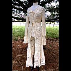 Selling this Free People ivory Crochet Maxi Sweater Duster  XS in my Poshmark closet! My username is: richbororiches. #shopmycloset #poshmark #fashion #shopping #style #forsale #Free People #Sweaters