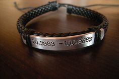 Gift for dad, Gift for man, Coordinates bracelet, personalised, Mens bracelet, Anniversary Gift, Gift for boyfriend, Coordinates Bracelet by PawlowskiCreations on Etsy Black Bracelets, Braided Bracelets, Cord Bracelets, Bracelets For Men, Anniversary Gifts For Him, Personalized Tags, Wooden Jewelry, Gifts For Husband, Boyfriend Gifts