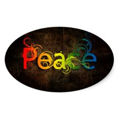 Peace Oval Sticker - craft supplies diy custom design supply special