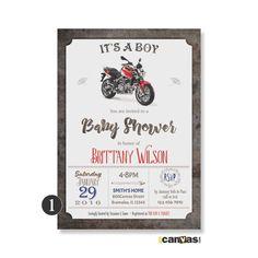 MOTORBIKE BABY Shower Invitation. Motorcycle Baby Shower Invites. It's A Boy…