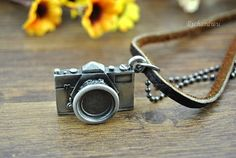 Retro bronze camera pendant necklace Brown leather & by Richardwu, $8.50 Retro style handmade leather necklace,best friendship gift.