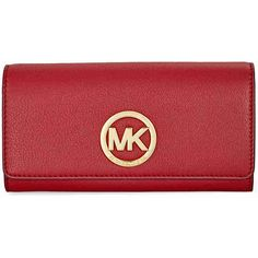 Michael Kors Fulton Carryall Wallet - Burnt Red ($95) ❤ liked on Polyvore featuring bags, wallets, card slot wallet, red bag, pocket wallet, red wallet and michael kors wallet