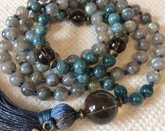 Labradorite Apatite Mala Necklace, 108 Mala Beads, Meditation Mala, Yoga Jewelry, Buddhist Mala Prayer Beads, Tibetan Mala Beads, Japa Mala