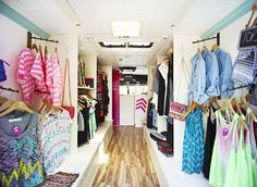 Interior shot of the travelling clothing shop, TopShelf Boutique