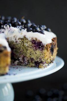 gluten free blueberry, lemon, poppy seed, and almond cake