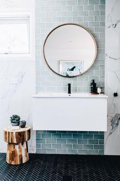 Home Interior Colour blue and marble tile bathroom + bathroom design + floating vanity + round bathroom mirror Marble Tile Bathroom, Laundry In Bathroom, Bathroom Renos, Bathroom Interior, Bathroom Ideas, Bathroom Designs, Bathroom Mirrors, Bathroom Organization, Bathroom Green