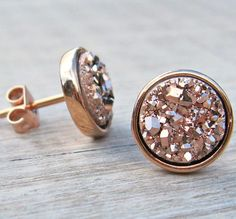 So pretty: rose gold druzy stud earrings.