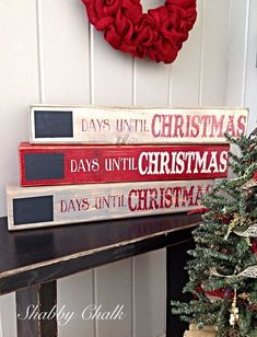 This Countdown to Christmas Shelf Block will be the perfect addition to any holiday display and fun for the whole family! These Christmas Shelf blocks are made from pine wood, painted, lightly distressed to give it that Shabby look . Christmas Countdown, Christmas Party Games, Winter Christmas, Christmas Home, Christmas Wreaths, Christmas Decorations, Christmas Ornaments, Christmas 2019, Homemade Christmas