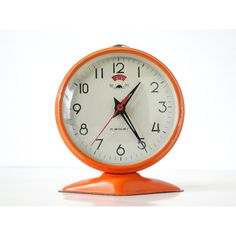 MINI Vintage Orange Round Mechanical Alarm Clock ❤ liked on Polyvore featuring home, home decor, clocks, mini alarm clock, orange clock, mini clocks, orange home decor and orange alarm clock