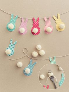 Easter Garland with Bunnies in a Few Easy Steps! - DIY Candy-Easter Garland with Bunnies in a Few Easy Steps! – DIY Candy This colorful Easter garland is so easy to make with scrapbook paper and yarn! Both kids and adults will love making this together. Bunny Crafts, Easter Crafts For Kids, Easter Ideas, Egg Crafts, Unicorn Crafts, Preschool Crafts, Door Crafts, Easter Activities, Resin Crafts