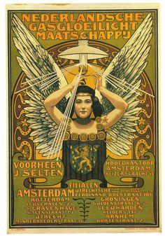 robotcosmonaut:  Nederlandse Gasgloeilicht Maatschappij, 1897  Artist is Johann Georg van Caspel