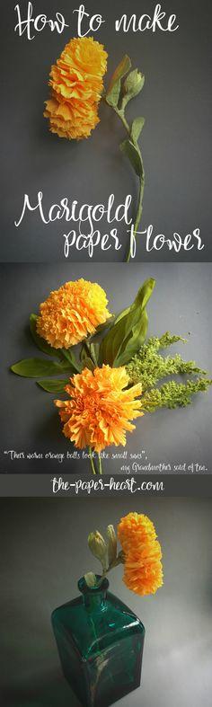Marigold paper flowers for home decoration. More paper flowers: https://www.etsy.com/shop/ThePaperHeartDesign?ref=hdr_shop_menu