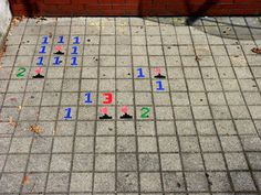 minesweeper on a sidewalk!!!! HA!!!
