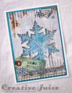 Corregated Paper Base - Creative Juice: Tim Holtz Tags of 2014 - November Christmas Card Crafts, Christmas Tag, Xmas Cards, Holiday Cards, Snowflake Cards, Snowflakes, Tim Holtz Stamps, Mixed Media Cards, Card Tags
