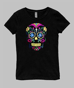 Loving this Micro Me Black Neon Skull Fitted Tee - Infant, Toddler & Girls on #zulily! #zulilyfinds