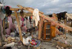 A pig walks through the remains of a home destroyed by Hurricane Matthew, in Port-a-Piment, Haiti, Monday, Oct. 10, 2016.