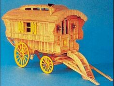 Matchstick gypsy caravan Toothpick Crafts, Matchstick Craft, M Craft, Gypsy Caravan, Popsicle Sticks, Fairy Houses, Wooden Toys, Arts And Crafts, Scale Models