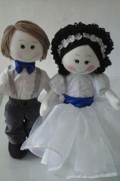 Bonecos de pano. Casal de noivinhos . Atelie Arte Dri.