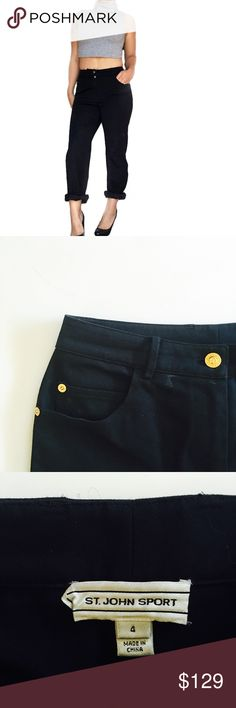 St. John Sport high waisted straight leg jeans Super cool high waisted straight leg jeans by St. John Sport. Color is a dark navy. I like to roll them up but they're long enough to wear down as well. St. John Jeans Straight Leg