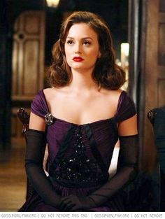 Blair Waldorf Stunning in a retro hair-style and Purple Gown with Black elbow length gloves| Gossip Girl