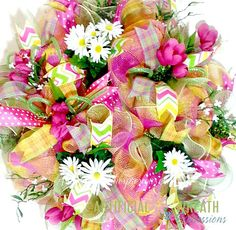 Hey, I found this really awesome Etsy listing at https://www.etsy.com/listing/227052177/deco-mesh-spring-wreath-pink-wreath