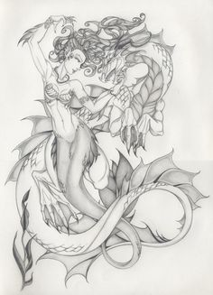 Request 2: Dragon and Mermaid by ~Anyae on deviantART