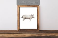 """Instant Download Painting, Farmhouse Wall Art, Pig Painting, Pig Art, Farm Animals, Farm Animal Painting, Animal Room Decor, 8x10"""""""