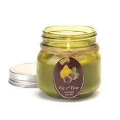 Fill your room with delicious summer scent! This charming mason jar features the sweet smell of fresh figs and ripe pears in a soy blend candle that invites sum