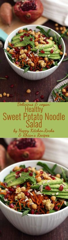 Healthy, easy and delicious vegan Sweet Potato Noodle Salad with Chickpeas and Rocket recipe. It makes for a great nutritious lunch or a nice gluten free side dish! #avocado #sweetpotato #salad #spiralizer #chickpeas #healthyrecipes #recipes #recipe #food #arugula #rocket #healthylunch #lunch #healthysalad