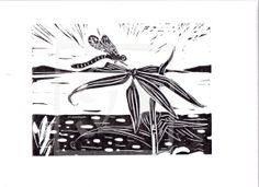 Original Limited edition Linocut of a dragonfly resting on leaves beside a lake.