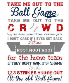 "Take Me Out to the Ballgame Print - Nursery Art or Kids Room Art - Can be Personalized for Your Team :). Imagine what D would say if I ordered and had home team replaced with ""Red Sox"", lmao! Take Me Out, Take My, Dodgers, Baseball Mom, Baseball Party, Baseball Wall, Baseball Birthday, Baseball Stuff, Baseball Season"