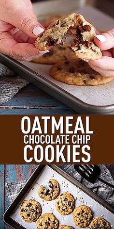 data-pin-description=Oatmeal Chocolate Chip Cookies: These bake up so soft & chewy, and they stay that way! Made with plenty of melty chocolate and hearty oats. data-pin-d Oatmeal Chocolate Chip Cookie Recipe, Perfect Chocolate Chip Cookies, Quaker Oatmeal Cookies, Cookie Recipes, Dessert Recipes, Cupcakes, Delicious Desserts, Health Trends, Makeup Quotes