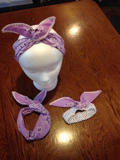 Bandana Wrap Headbands  Mommy & Me Set of 3 by FourHeartsDesigns