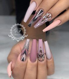 Attractive Acrylic Nail Art Designs Trends & Ideas 2019 (Coffin nails & Stiletto nails) - Page 8 of Attractive Acrylic Nail Art Designs Trends & Ideas 2019 (Coffin nails & Stiletto nails) Cute Acrylic Nails, Acrylic Nail Designs, Cute Nails, Pretty Nails, Nail Art Designs, My Nails, Shellac Nails, Nagellack Trends, Manicure E Pedicure