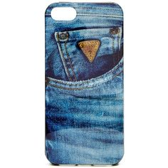 GUESS Denim iPhone 5/5s Hard-Shell Case ($15) ❤ liked on Polyvore featuring accessories, tech accessories, phone cases, cases, tech, pop color, black iphone case, iphone case, apple iphone cases y iphone hard case