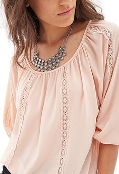Embroidered Woven Peasant Top | FOREVER 21 - 2055879605