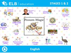 Explore a variety of themes and activities based on Mem Fox' Possum Magic book. Use these interactive games to complement your language learning program on any whiteboard or panel!