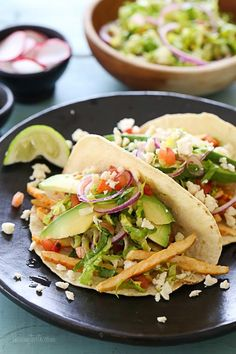 Grilled Chicken Tacos with Lettuce Slaw, Avocado and Cotija (via Bloglovin.com )