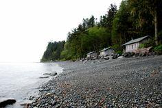 Joyce, Washington  3 cabins on the beach