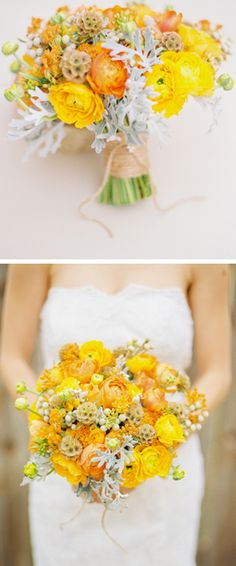 yellow & orange rununculus bouquet. Like this, but would want to add grey to it