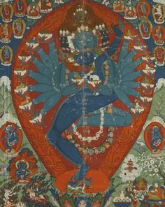 The yidam with eight heads, sixteen arms and four legs standing in ardhaparyankasana (ecstatic union) with the consort Nairatmya, trampling underfoot four supine figures atop a lotus throne, wearing the five-pointed crown, the six bone ornaments, and garlands of skulls and severed heads, holding kapala aloft in the many hands, surrounded by a retinue of eight goddesses with Virupa, Kurukulla and lamas in the upper register, with Shri Devi, Kubera and other deities in the lower register.