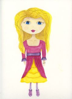Watercolor girl #1. I'm playing with watercolors. My first girl in watercolor. I named her Alice. No idea why.