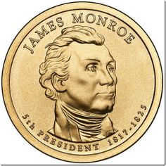 """Is Your Monroe Dollar a """"Wrong Planchet"""" Error?: A normal Monroe Presidential Dollar is golden in color. President Timeline, Westmoreland County, James Monroe, United States Mint, Coin Worth, Error Coins, Coin Values, Old Money, Dollar Coin"""